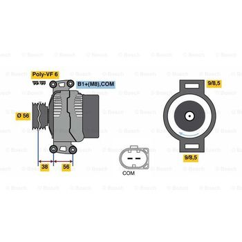 Generator -- BOSCH, AUDI, A4 Avant (8K5, B8), (8K2,, A5 Cabriolet...