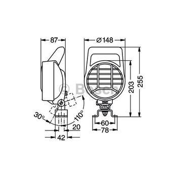 Arbeitsscheinwerfer -- BOSCH, Einbauseite: FB, Durchmesser [mm]: 148...