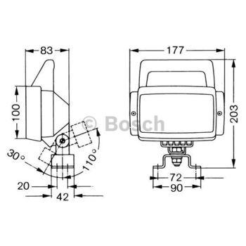 Arbeitsscheinwerfer -- BOSCH, Einbauseite: FB, Breite [mm]: 177...