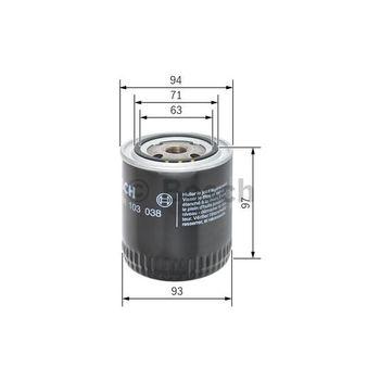 Ölfilter -- BOSCH, Durchmesser [mm]: 96, Durchmesser 1 [mm]: 93...