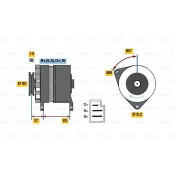 Generator -- BOSCH, AUDI, 50 (86), 80 (81, 85, B2), Austauschteil: ...