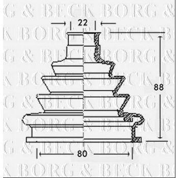 Faltenbalg, Antriebswelle -- BORG BECK, AUDI, 80 (8C, B4), (89, 89Q,...